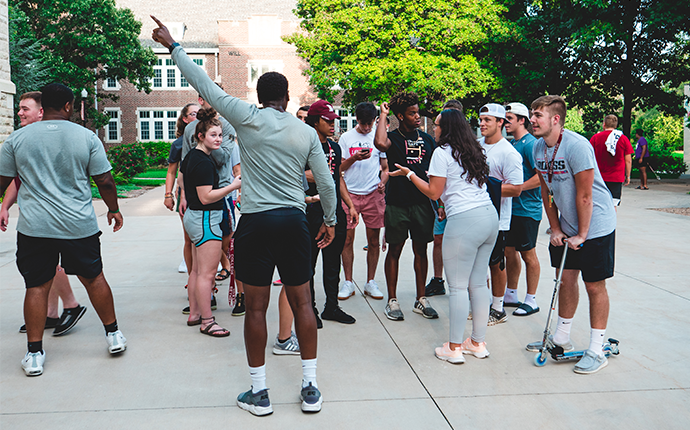 orientation leaders providing directions