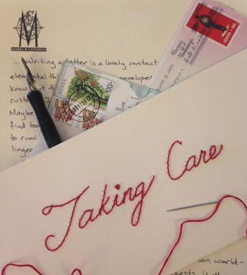 "Detail from Rachel Epp Buller's ""Taking Care"" project, part of her exhibit ""Listening Across Time"""