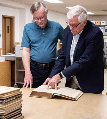 John Thiesen and Dale Schrag with the Erasmus Bible