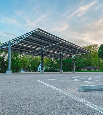 The solar carport in the parking lot of Luyken Fine Arts Center