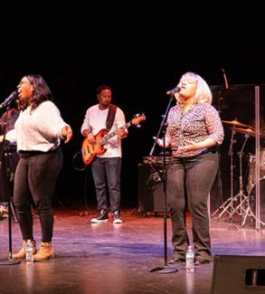 Urban Doxology performing in Krehbiel Auditorium