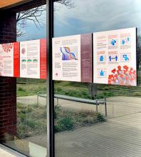 Exhibit mounted on windows outside Kauffman Museum front entrance